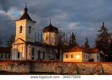 Orthodox Church In Republic Of Moldova. Christianity. Beautiful View Of The Capriana Monastery. Russ