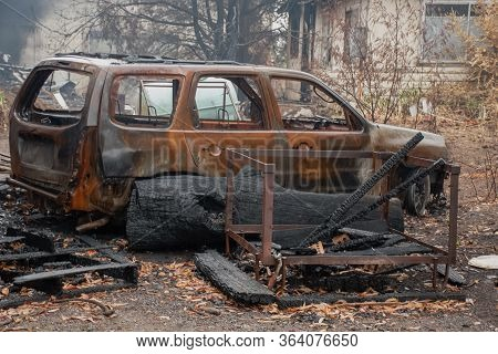 Sydney, Australia 2020-january Australian Bushfire Aftermath: Burnt Car And Rubble