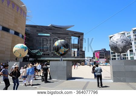 Wellington, New Zealand - December 28, 2019: Visitors At The National Museum Of New Zealand Called T