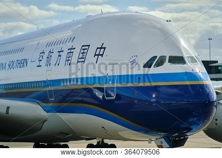Amsterdam / Netherlands - October 7, 2018: China Southern Airlines Airbus A380 At Amsterdam Airport