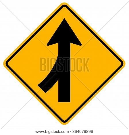 Warning Signs Merging Traffic, Watch For Cars From The Left On White Background