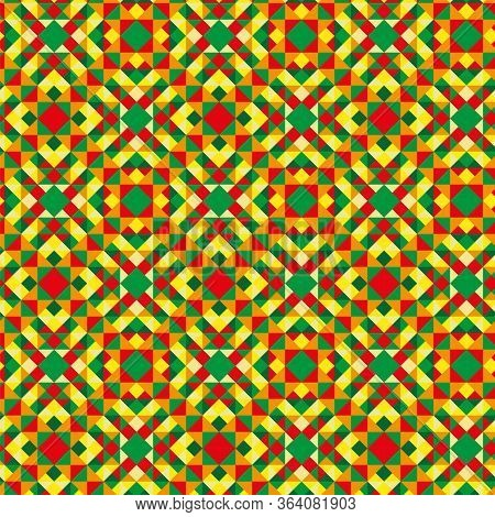 A Seamless Pattern That Consists Of Triangles Of Different Colors, Such As Red, Green, Yellow.