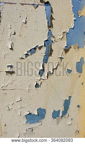 Background Texture. Old Paint Bursts And Crumbles From An Iron Sheet, Forming A Beautiful Three-dime