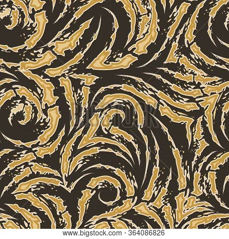Vector Seamless Pattern Of Torn Stripes And Arcs Of Brown And Beige Color With Sharp Ends Isolated O