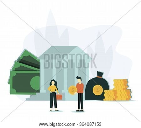 Vector Flat Illustration, Bank Building On A White Background, Bank Financing, Money Exchange, Finan