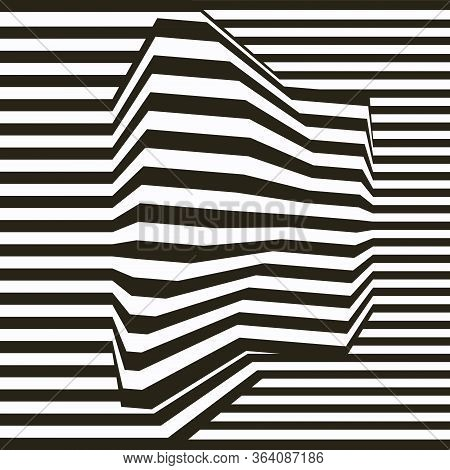 Optical Illusion Lines Background. Abstract 3d Black And White Illusions. Eps 10 Vector Illustration