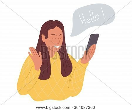A Happy Girl Makes A Video Call On The Phone And Greets Her Interlocutor. Vector Illustration.