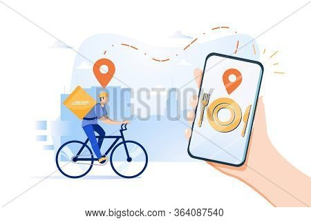 Food Delivery App On A Smartphone Tracking A Delivery Man On A Bicycle With A Ready Meal, Technology