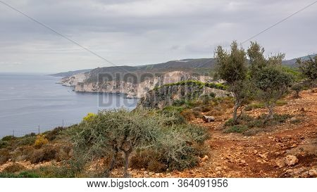 Beautiful Coast Of Zakynthos And View Of Cliffs Of Keri. Greece