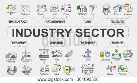 Vector Chart Banner Of Industry Sector  Concept With Flat Design Infographic Of  Various Segment Of