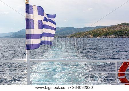 Greek On An Open Deck Of A Ferryboat In Sunny Summer Day. Greece
