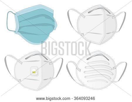 Safety N95 Mask, Dust Protection Respirator And Breathing Medical Respiratory Mask. Hospital Or Poll