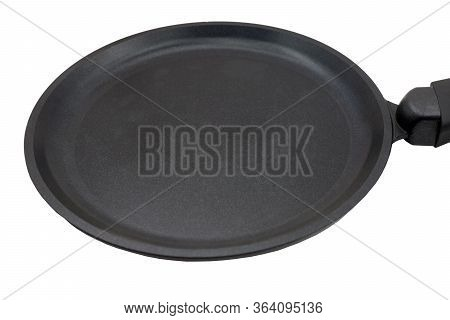 Round Cast Iron Griddle Pan Isolated On White Background