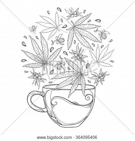 Vector Outline Cup Of Herbal Tea With Cannabis Sativa Or Marijuana Leaf And Seed In Black Isolated O