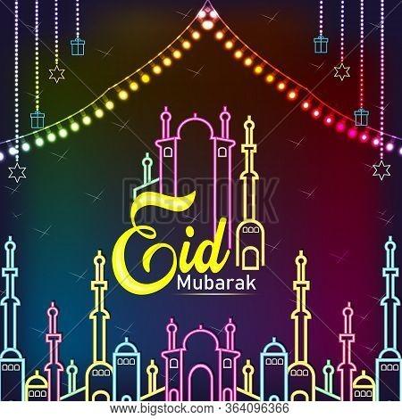 Eid Mubarak Neon Vector.happy Eid Mubarak Festive Card Design Template In Modern Trend Style