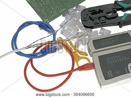Crimper, Network Cable, Connectors And Network Cable Tester With Utp Cable