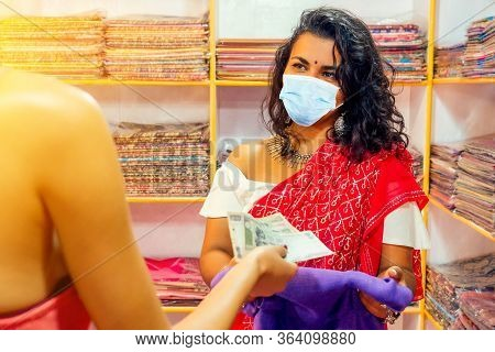 Business Lady In Red Traditional Sari And Jewelery Clothes Shop Owner Cashmere Yak Wool Shawls And C