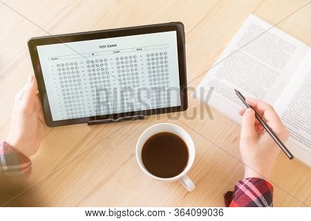 Online Exam. Girl Student Testing Exercise. Examination Test On The Tablet For School, University. M