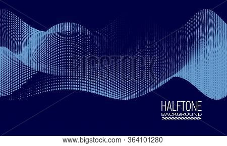 Abstract Vector Halftone Background Design With Wavy Texture Of Dots. Blue Monochrome Printing Raste