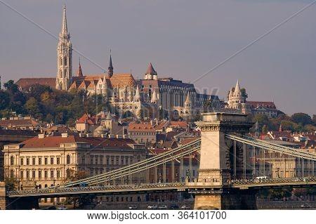 Szechenyi Chain Bridge And Buda Castle In Budapest, Hungary