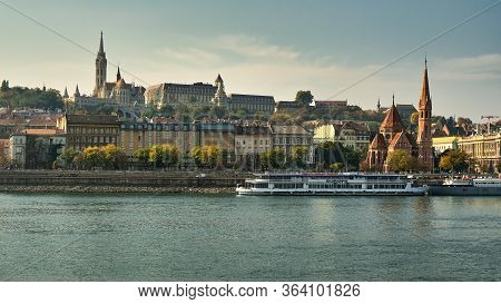 Budapest / Hungary - October 20, 2018: Buda Castle District Of Budapest With Matthias Church And Fis