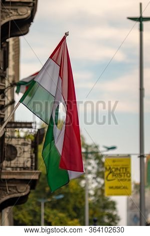 Budapest / Hungary - October 20, 2018: Hungarian Flag With A Hole In The Middle As Symbol Of The Ant