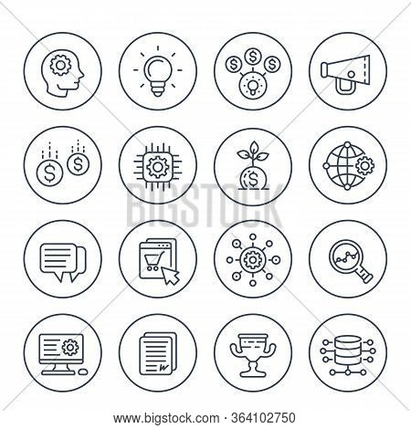 Startup Line Icons Set, Creative Process, Idea, Initial Capital, E-commerce, Project Growth And Anal