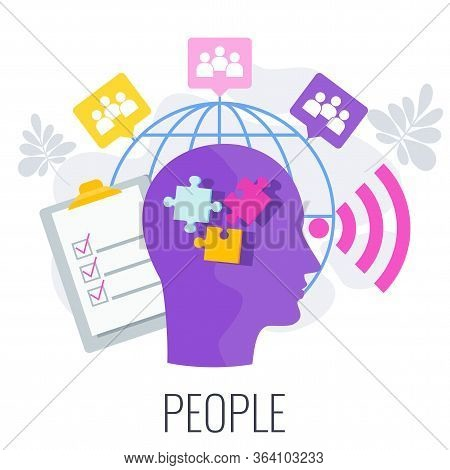 People Infographics Pictogram. 7 Ps Marketing Mix Infographic Flat Vector Illustration Scheme. Strat