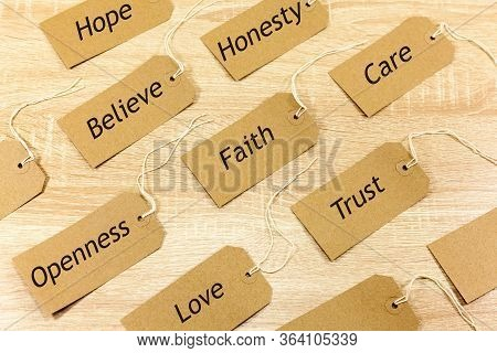 Positve Words Associated With Faith And Trust - Written On Labels