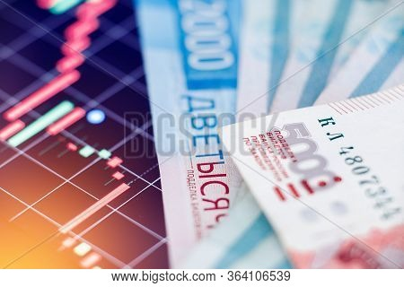 Ruble Exchange Rate Chart On International Stock Exchanges. Concept Depreciation Of Currencies And S