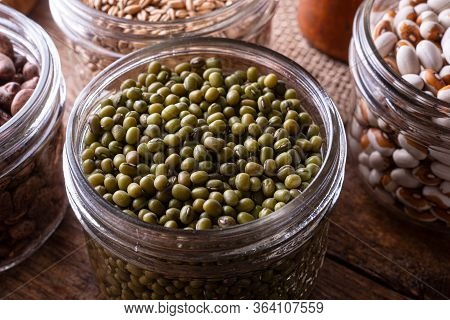 Green Mung Beans In A Glass Storage Container.