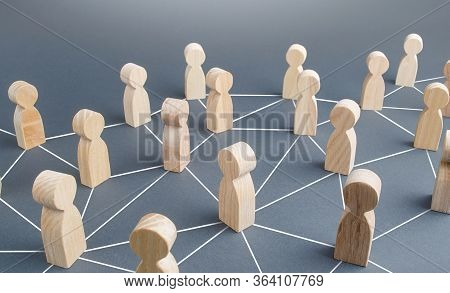 People Connected People By Lines. Society Concept. Social Science Relationships. Cooperation And Col