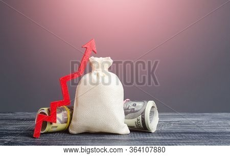 Blank Clear Money Bag And Red Arrow Up. Influx Of Investment And Capital, Increase Of Wealth. E Mark