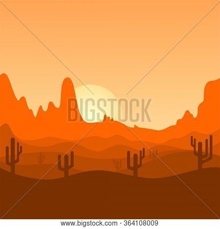 Desert Landscape Design. Cactus Trees On Desert Land. Sunset Landscape Design. Sunrise Landscape Des