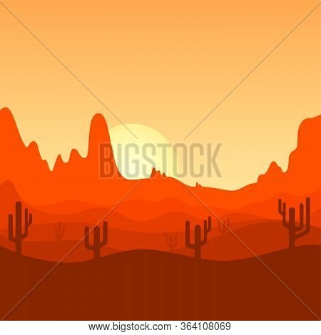 Desert Landscape Design. Cactus Trees On Desert Land. Sunset Landscape Design. Sunrise Landscape Des