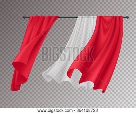 Billowing Curtains Realistic Composition With Solid Red And White Lace Hanging Curtains Isolated On