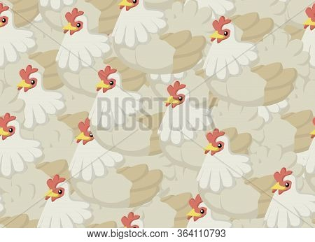 Chickens Cartoon, Seamless Texture Pattern, Color Vector Illustration, Horizontal Background