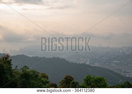 Georgetown During Hazy Day View From Penang Hill.