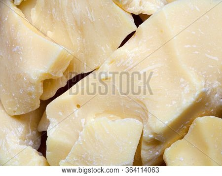 Pieces Of Natural Cocoa Butter. Macro Photo
