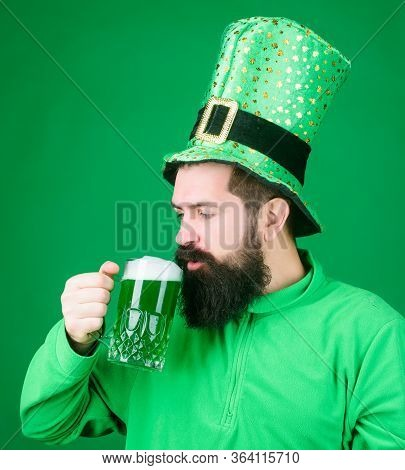Lets Start Patricks Party. Irish Tradition. Man Brutal Bearded Hipster Drink Beer. Irish Pub. Drinki