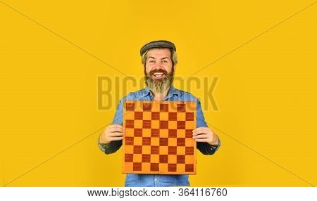 Board Game. Strategy Concept. Chess Competition. Thoughtful Bearded Man Play Chess. Chess Figure. In