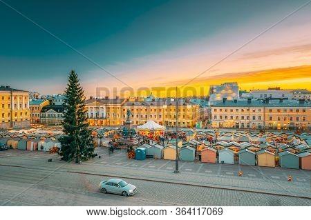 Helsinki, Finland - December 10, 2016: Christmas Xmas Market With Christmas Tree On Senate Square In