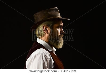 Mature Cowboy. Detective Acknowledgement Or Greeting. Trilby Hat. Man In Vintage Style Wide Brimmed