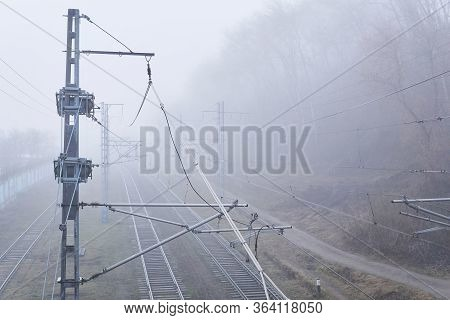 Hazy Landscape - Railway Tracks Hiding In The Fog, Top View