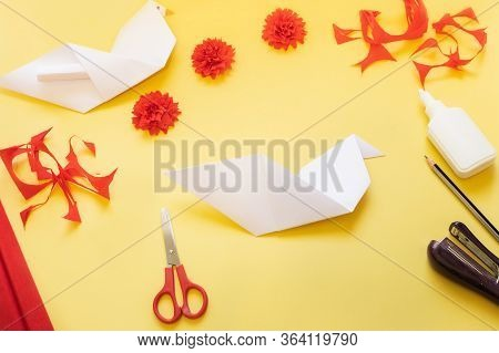 Diy Instructions. How To Make Card With Carnation Flowers And Origami Dove At Home. Card To Victory