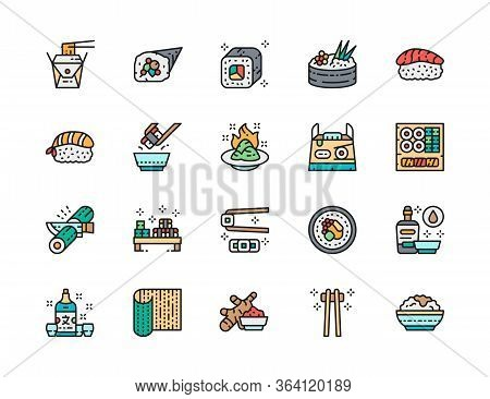 Set Of Japanese Food Color Line Icons. Ginger, Temaki, Wasabi, Sake And More.