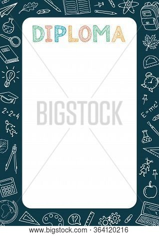 Diploma Certificate Background. Vector Elementary Kids Design Template. School, Preschool Diploma. S