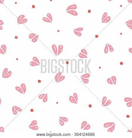 Vector Doodle Pink Heart Shape Pattern With Hand Drawn Textured Cutout Heart Shape On White Backgrou