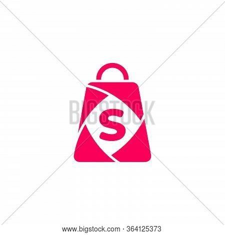 Letter S Sale Paper Shopping Bag Geometric Design Logo Vector