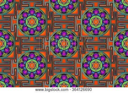 Seamless Yantra Background. Bagalamukhi Yantra Mandala, Colorful Sacred Tibetan Diagram The Vital En